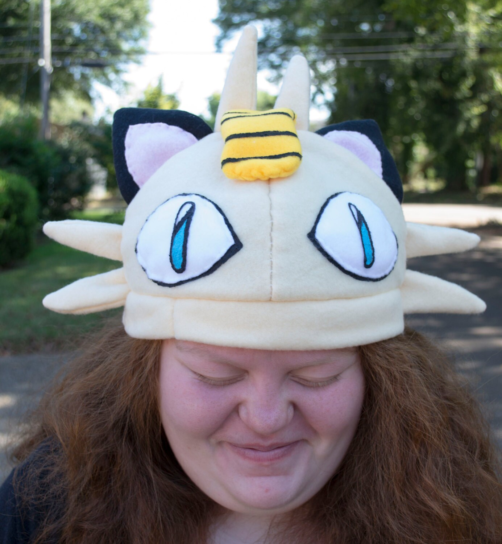 Meowth Pokemon Hat Beanie Fleece Handmade Sewn Adult Sized # Muebles Pokemon