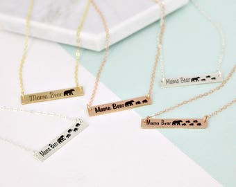 Mama bear bar necklace • Kids bear necklace •  Gold Layering necklace • Bar necklace • Engraved necklace - Mama bear necklace
