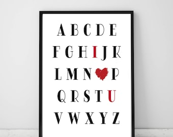 Alphabet I love you Wall Print.