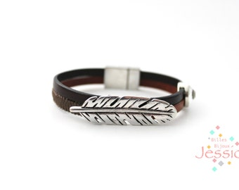 Magnetic leather bracelet, Brown leather, Bohemian bracelet, Gypsy bracelet, Woman leather bracelet, Men leather bracelet, Leather bangle