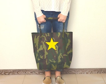 Military outdoor fabric shopping bag with leather star