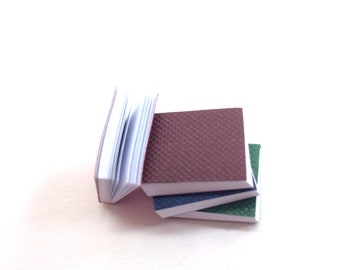 Miniature Books / Mini Notebooks Set of 4 w/ Blank Pages (Blue, Green, Red, Brown) for Dollhouse, Dioramas, Pocket Size Novelty Journal