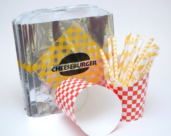 Vintage Style Foil Paper Lined Jumbo Cheeseburger Bags - Yellow and Black Checkered - Gusseted 6-1/2 x 1-1/2 x 7-3/4 Inches - set of 25