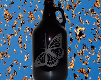 Butterfly Hand-Etched 64oz Amber Beer Growler
