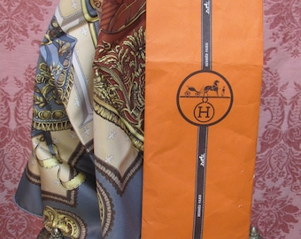 "Vintage 1960's Deadstock Hermès ""Selles-a-Housse"" Horsewoman's SILK-SCARF in Original Sleeve"
