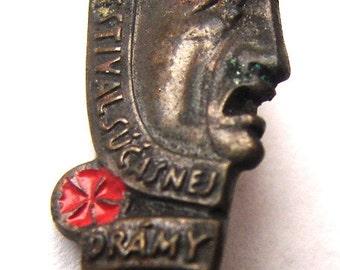 Old SLOVAK DRAMA FESTIVAL badge Slovakia súčasnej Theatre Bronze badge pin