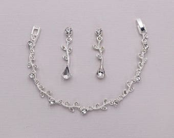 Crystal Wedding Bracelet Set, Crystal Rhinestone Vine Teardrop Bracelet Earrings Set, CZ Swarovski Crystal Wedding Set, Carla Bracelet Set