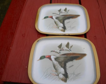 Serving Trays- Antique : Mallards in Flight -Matching Vintage Metal Serving Trays -.. ( selling as  Pair)