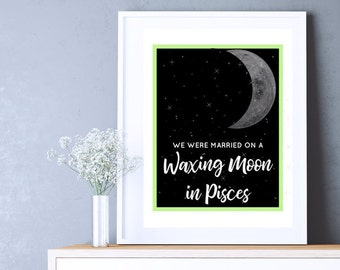 Pisces Moon Phases Digital Download Art Print  Mindfulness Gift for Him