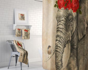 Shower Curtain Elephant and Bird Grunge