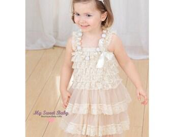 6-12 Months Lace girl dress, flower girl dress, flower girl lace dresses, country lace dress, toddler dress, ivory lace dress flower girl