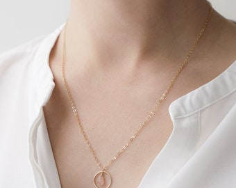 Peach Moonstone and Circle Necklace, Gold Filled Moonstone Necklace, Moonstone Pendant Necklace, Teardrop Necklace, Layering Necklace