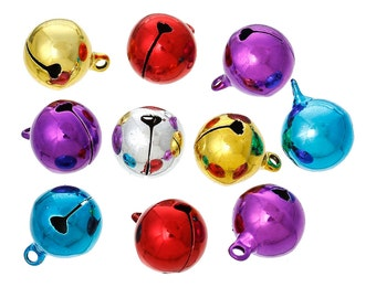 10 Mixed Color Metal JINGLE BELL Charm Pendants, 21x16mm  cho0081