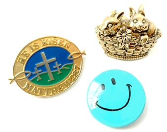 Lot Easter Pins Avon Bunnies Basket of Love He is Risen Christian Lapel Pin Tie Tack Smiley Face Pinbacks 1 For Mom Dad Child WHOLE Family