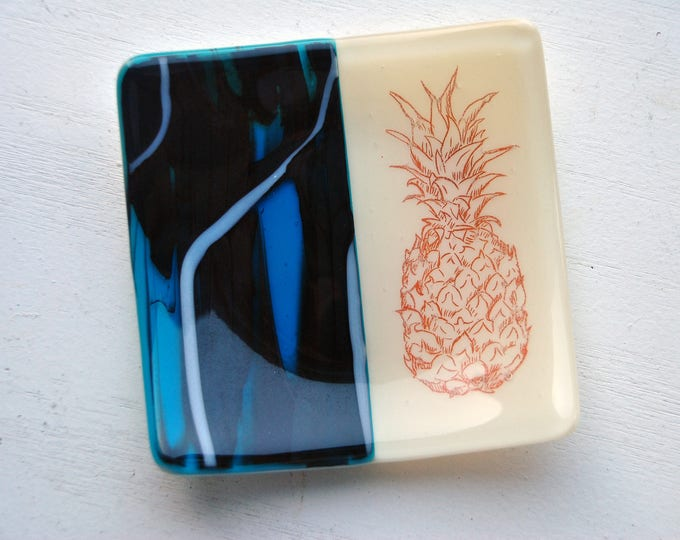 Black and Blue Pineapple Fused Glass Dish/Plate