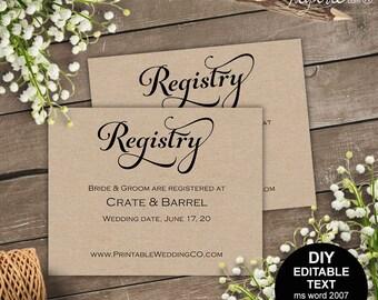 Registry card, wedding registry, wedding registry card, gift registry, rustic, printable wedding, template, DIY  #S4MR1