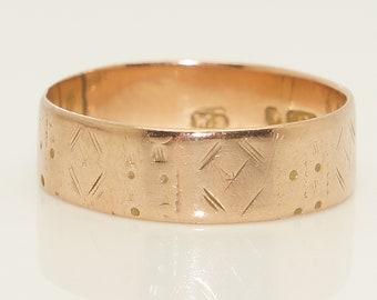 1891 Antique 9Ct Rose Gold Etched 6.4 mm Wedding Band Ring, Size V 1/2