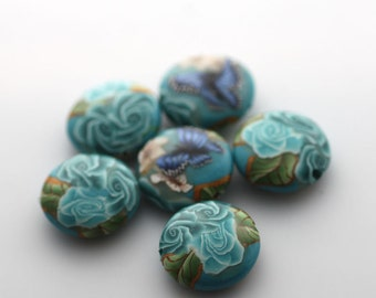 Turquoise Beads, Polymer Clay Beads, Lentil Beads, Sea Garden, 6 Pieces