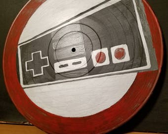 Vinyl Record Painting NES controller