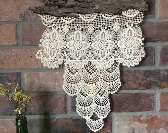Rustic lace and tree bark wall hanging