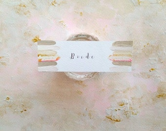 Hand painted pink and gold wedding place cards, personalised place cards, escort cards, custom wedding stationery, gilded place cards