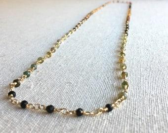 Tourmaline gemstone gold long necklace