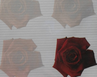"bag of 25 sheets of A4 ""red roses"" floral paper"