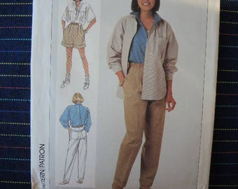 Vintage 1980s Simplicity sewing pattern 7860 misses pants shorts and loose fitting shirt size 12