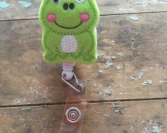 Frog ID badge reel holder retractable clip