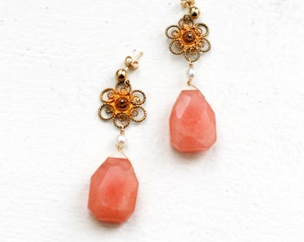 Pink Quartz Earrings with Fresh Pearl and Upcycled Gold Flower-Strawberry Quartz Earrings-Quartz Earrings-Gold Flower Pearl Earrings