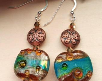 Artisan Lampwork and Copper Earrings