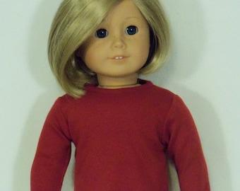 American Made 18 inch Doll Long Sleeved Dark Cardinal  Crew Tee-Shirt