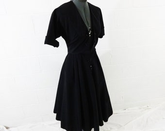 Vintage 40s Sue Brett Natural Black Rayon Swing Dress