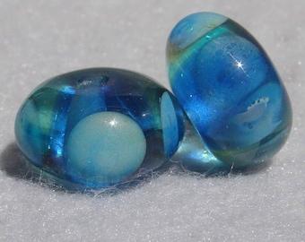 KAHALUU #2 Pair(2) Handmade Art Glass Beads Flaming Fools Lampwork Art Glass SRA