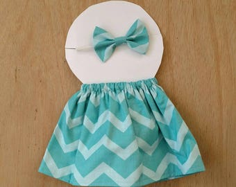 Doll outfit, teal Chevron pattern doll outfit, dress up outfit, dress up skirt, dress up headband, doll clothes