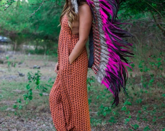 The Original - Real Pink Chief Indian Headdress Replica 135cm, Native American Style Costume Hand Made Feathers War Bonnet Hat