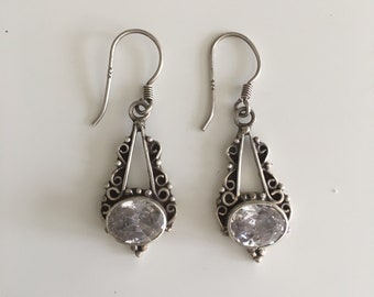 Victorian style handcrafted vintage 925 Silver Earring