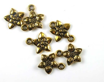6 Gold TierraCast Star Jasmine Charms
