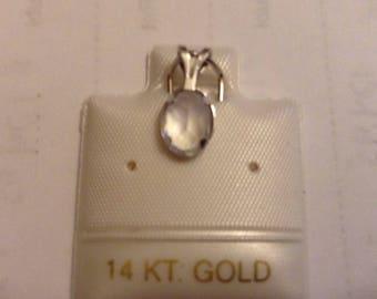 14 k White Gold Genuine Moonstone Pendant