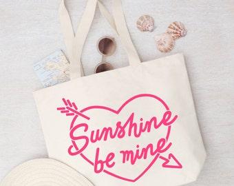 Beach Tote - Pool Bag - Bag Canvas Beach - Weekender Bag - Canvas Bag with Pockets - Sunshine be Mine Canvas Bag - Alphabet Bags