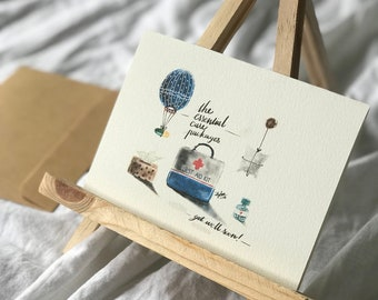 The Essentials Care Package  | Get Well Soon | Greeting Card | Water Colour Print | Card | Print | Handmade | Hand Crafted