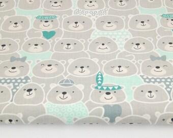 Tissu  100% coton imprimé 50 x 160 cm, Ours gris / menthe, Indiens