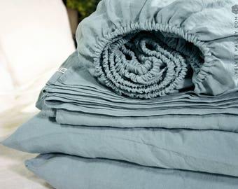 Duck egg blue set of linen sheets -4 pieces linen bed sheet set-stonewashed linen fitted sheet, flat sheet &2 pillow cases