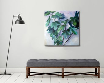 original oil painting, plant painting, green painting, botanical art, large painting, fig painting , large canvas art