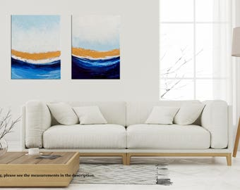 Abstract Ocean, Waves Painting, Palette Knife, Seascape painting, Diptych painting, Ocean painting, Coastal art decor, Niks Paint Gallery
