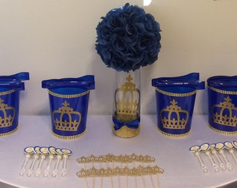 Royal Prince Baby Shower Birthday Party Crown Centerpiece Favors Candy Buffet Cupcake Toppers Crown Cutouts Royal Blue Gold Bubbles Tongs