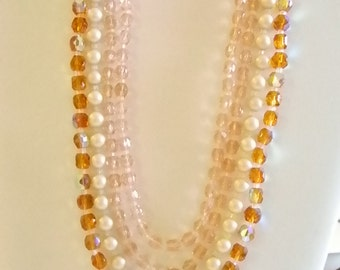 Pink Amber Pearl Multi Layered Beaded Necklace - Japan