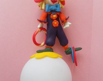 Round led Nightlight with clown juggler cold porcelain