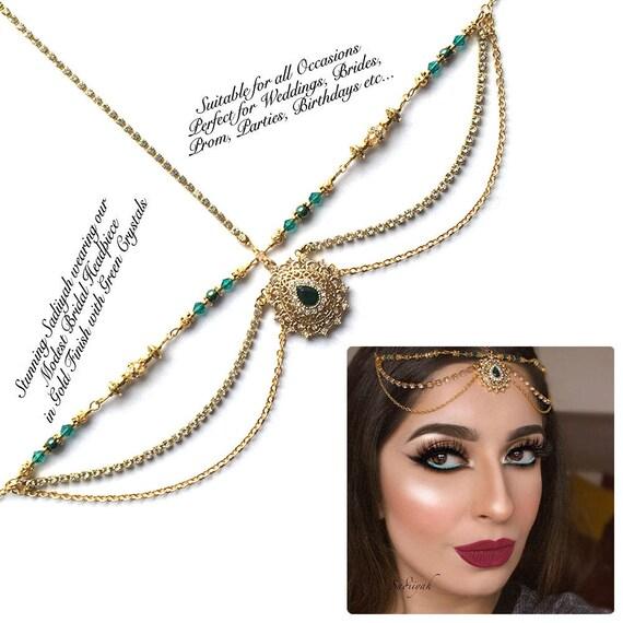 Green forehead jewelry Green nd Gold hair jewelry head