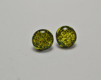 Shiny Gold  Dichroic Post Earrings.